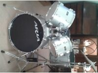 Aria bass drum, 3 Toms and Share + pedals & ride/crash cymbal