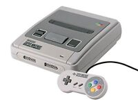 SNES Super Nintendo Console + 2 Controllers + All Connections