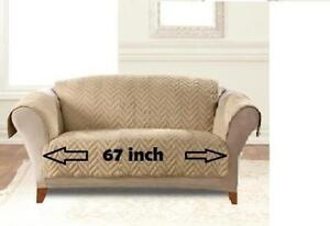 Sure Fit Faux Fur Sofa Protector Deluxe Waterproof Sofa Furniture Cover in Blonde Mink