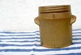 Vintage French Brown Confit Pot with Lid. French Home Decor.
