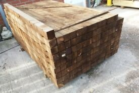 GREEN PRESERVATIVE TREATED SOFTWOOD GARDEN POSTS