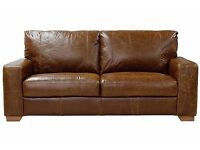 2 seater leather tan brown sofa design as in pic