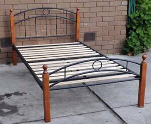king single metal and timber frame bed with mattress Glen Waverley Monash Area Preview
