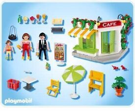 Playmobil cafe 5129 with extra bits. Lovely. Available from Sheffield or Penistone