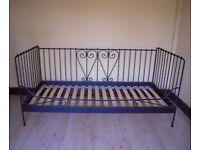 Ikea black metal single day bed
