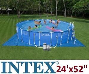 "NEW INTEX METAL FRAME ABOVE GROUND POOL SET - 129028695 - 24'x52"""