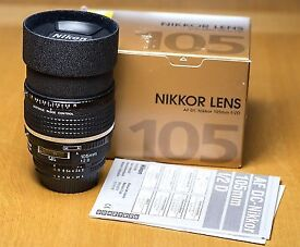 Nikon 105mm f2 DC, mint condition.