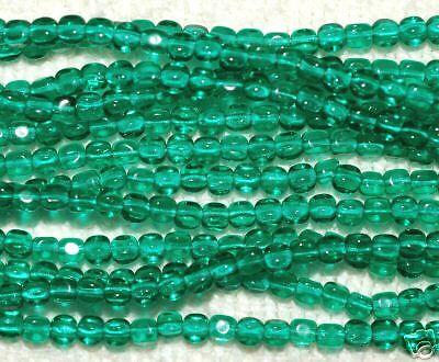 (*SSM* Mini-Cube Beads 4mm Czech -- Emerald (50))