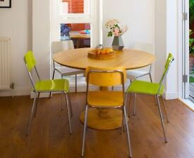 Solid Oak Habitat Kitchen Breakfast Table with 5 Chairs