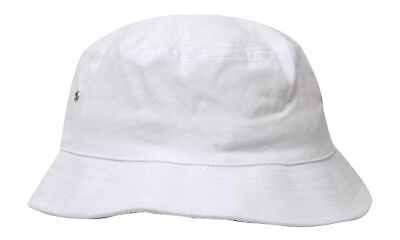 Brushed Twill Hat (*CUSTOM*Personalised Embroidery White Brushed Twill Beach Bucket Hat(L/XL-61cm) )
