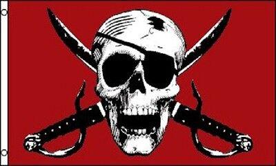 Crimson Pirate Flag Ship Banner Skull Sword Pennant 3x5 Jolly Roger New