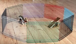 *NEW INDOOR HAMSTER GERBIL MOUSE METAL PLAY PEN RUN 8 PANELS EXERCISE AREA 6247