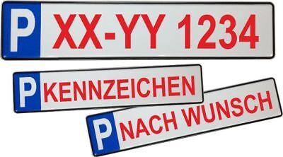 Parkplatzschild 52x11 Original mit Wunschkennzeichen, Wunschtext, Name ROT #P1