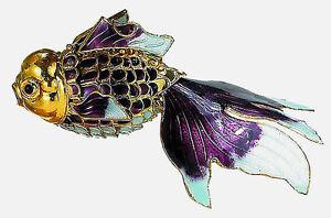 Kubla cloisonne ornamental purple gold koi fish large for Purple koi fish for sale