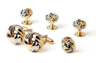 NEW Men's Silver Gold Two Tone Shirt Cuff links Love Knots Cufflinks Studs Boxed