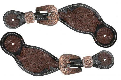 Spur Straps Western Leather  Fully Latigo lined with spots Basket weaved Black