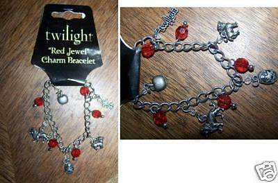 Twilight Saga Red Jewel Charm Bracelet Cullen Crest Lion New NECA