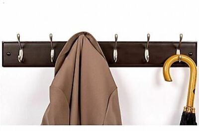 - EZ DO Solid Wood 6 Double Hook Robe Rack Wall Mounted Coat Hanger, Dark Brown