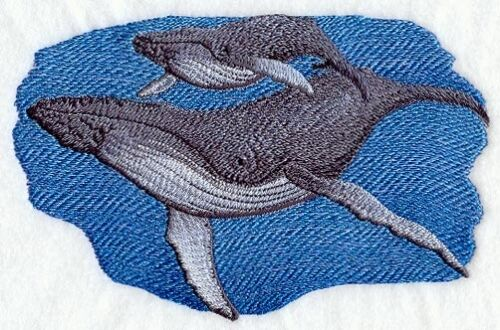 Embroidered Ladies Fleece Jacket - Humpback Whale and Baby C3916 Sizes S - XXL