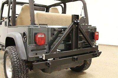 Rock Hard 4x4 Patriot Rear Bumper w/ Tire Carrier 76-06 Jeep CJ Wrangler YJ TJ - Mount 76 Series