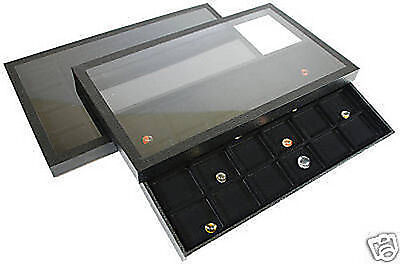 48 Compartment Acrylic Lid Jewelry Display Case Black
