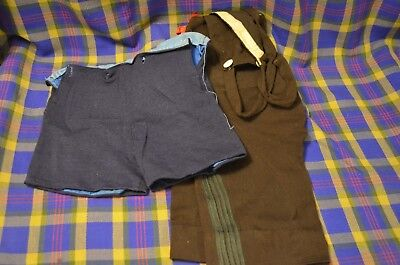 Vtg Hand Made Wool Boys Shorts-Navy Blue Pair w/Buttonholes for Suspenders-Brown - Short Suits For Boys