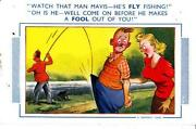 Comic Fishing Postcard