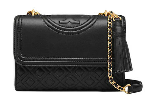 841e7a1da0b Tory Burch Bombe Convertible Shoulder Clutch Bag Purse Black Leather ...