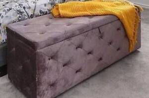 Velvet Storage Ottoman Grey Hornsby Hornsby Area Preview