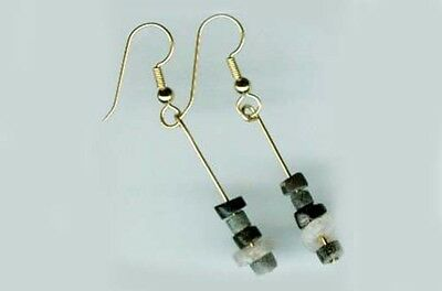 1126487692cb5d 3000BC Ancient Assyrian Semi-Precious Agate Gemstone Gold Fill Earrings