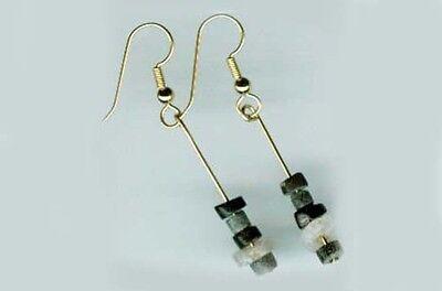 3000BC Ancient Assyrian Semi-Precious Agate Gemstone Gold Fill Earrings