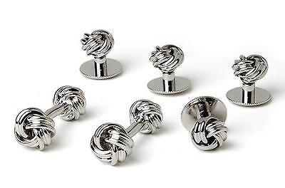 (New Men's Silver Love Knots Cuff links Studs Tuxedo Gift Box Made in USA)