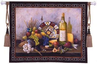 53x42 ITALIAN Still Life Fruit Wine Tapestry Wall Hanging Italian Still Life Tapestry