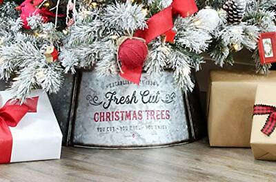 AuldHome Galvanized Metal Christmas Tree Collar 29-Inch Diameter Base for Lar...