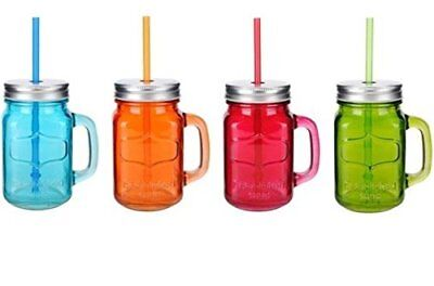 Glass Mason Jar 4 Pc Set 15.5 Oz w/Straw With Handles Assorted Colored Steel Lid](Mason Jar With Straw)