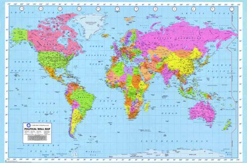 Laminated world map ebay gumiabroncs Gallery