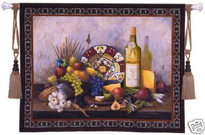 Italian Still Life Fruit & Wine Tapestry Bottle Picture Italian Still Life Tapestry