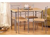 Brand New Rialto Dining Set Table with 4 Chairs, Breakfast Kitchen, Pine, Flat Pack
