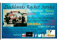 Docklands racket service. UKRSA certified. Electronic tensioning.