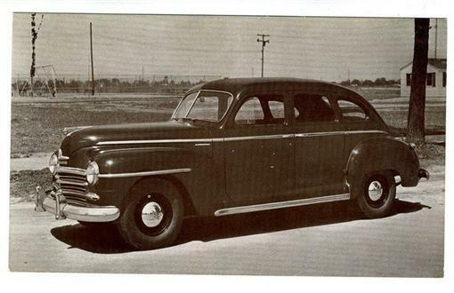1946 Plymouth  4 Door Sedan  Dealer Advertising Postcard