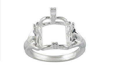 10x10mm - 14x14mm Square Regalle Pre- Notched Solid Sterling Silver Ring Setting