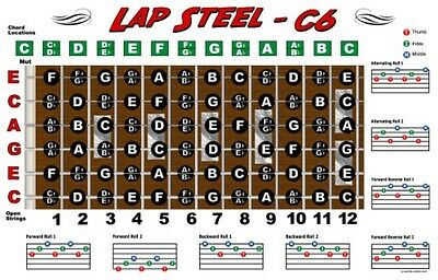 Lap Steel Guitar Fretboard Wall Chart Poster C6 Tuning Notes Rolls -
