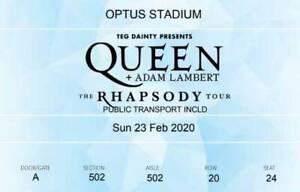 Queen, Adam Lambert, Optus Stadium Feb 2020, 2 tickets w insurance