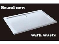 BNIB Aica 1200x760x40mm rectangle Walk in Shower enclosure Stone Tray Bathroom