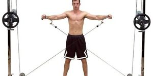 Cable Crossover Machine + Olympic Bar +PUNCHING STATION +Gym Set