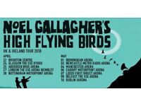 4 SEATED tickets for Noel Gallagher's High Flying Birds - Manchester Arena, Friday 4th May 2018