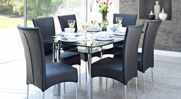 Harveys Boat Black Metal And Glass Large Dining Table 6 Faux Leather Marilyn Chairs