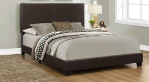 Dark Brown Queen Size Leather-Look Upholstered Bed Frame