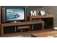 NEW IN BOX VERIN 1DOOR WALL MOUNTED TV UNIT WHITE/BLACK GLOSS