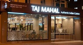 Waiting Staff, Bar Staff & Kitchen Staff Required at the Taj Mahal Crawley